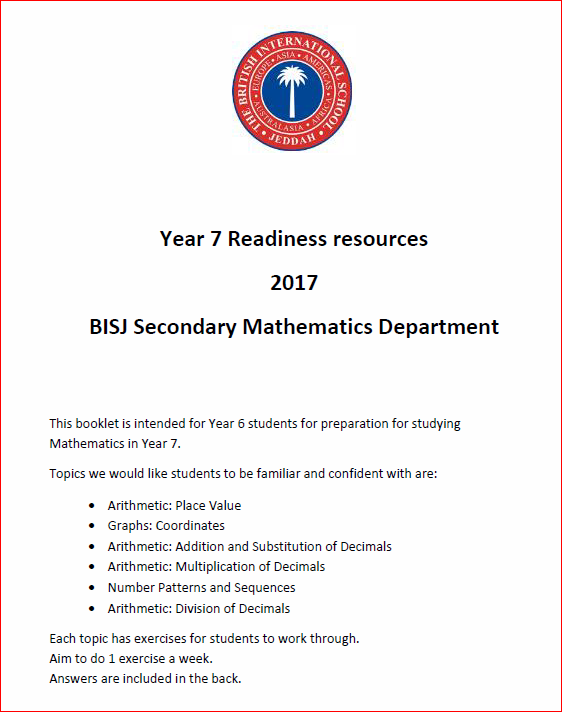 Year 7 Readiness resources booklet